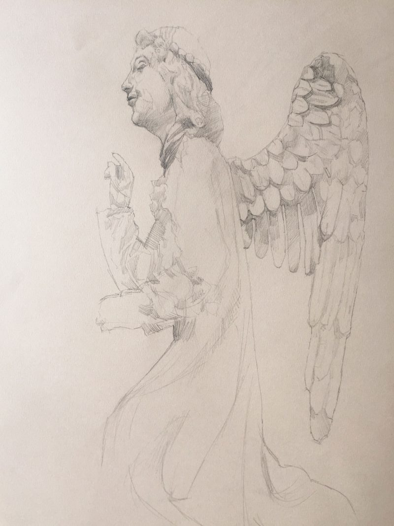 <p>15th Century Angel, pencil, 60 x 40cm</p>