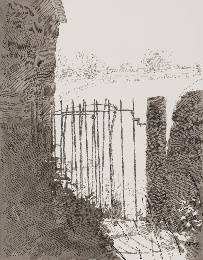 <p>Kissing Gate, Marshfiels, ink, 30 x 20cm</p>