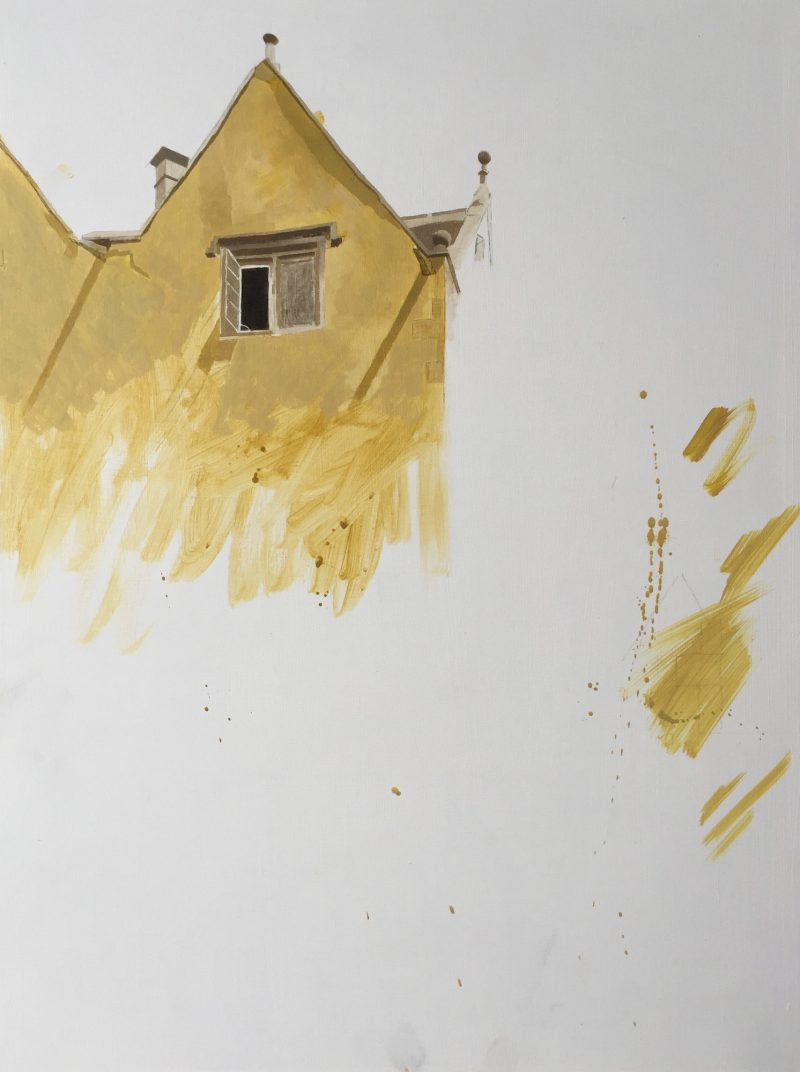Owlpen Manor (study) oil, 61 x 46cm