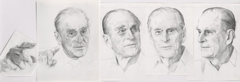 <p>Prince Philip Studies, pencil, 40 x 120cm</p>