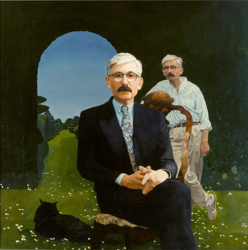 <p>Sir Roy Strong (double portrait), oil, 122 x 122cm</p>