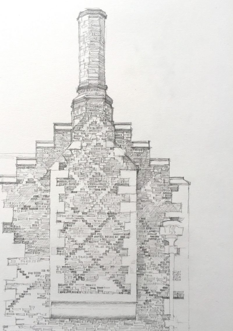 <p>Tudor Brickwork, Rycote Park, pencil, 40 x 30cm</p>