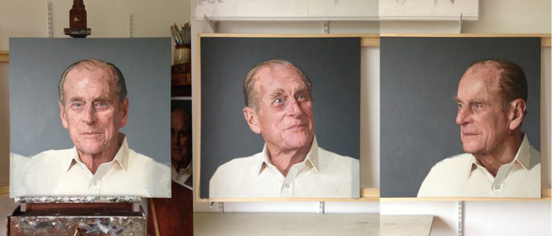 <p>HRH Prince Philip at 90 (in progress), oil on 3 canvases, 91 x 91cm each panel, 2013</p>