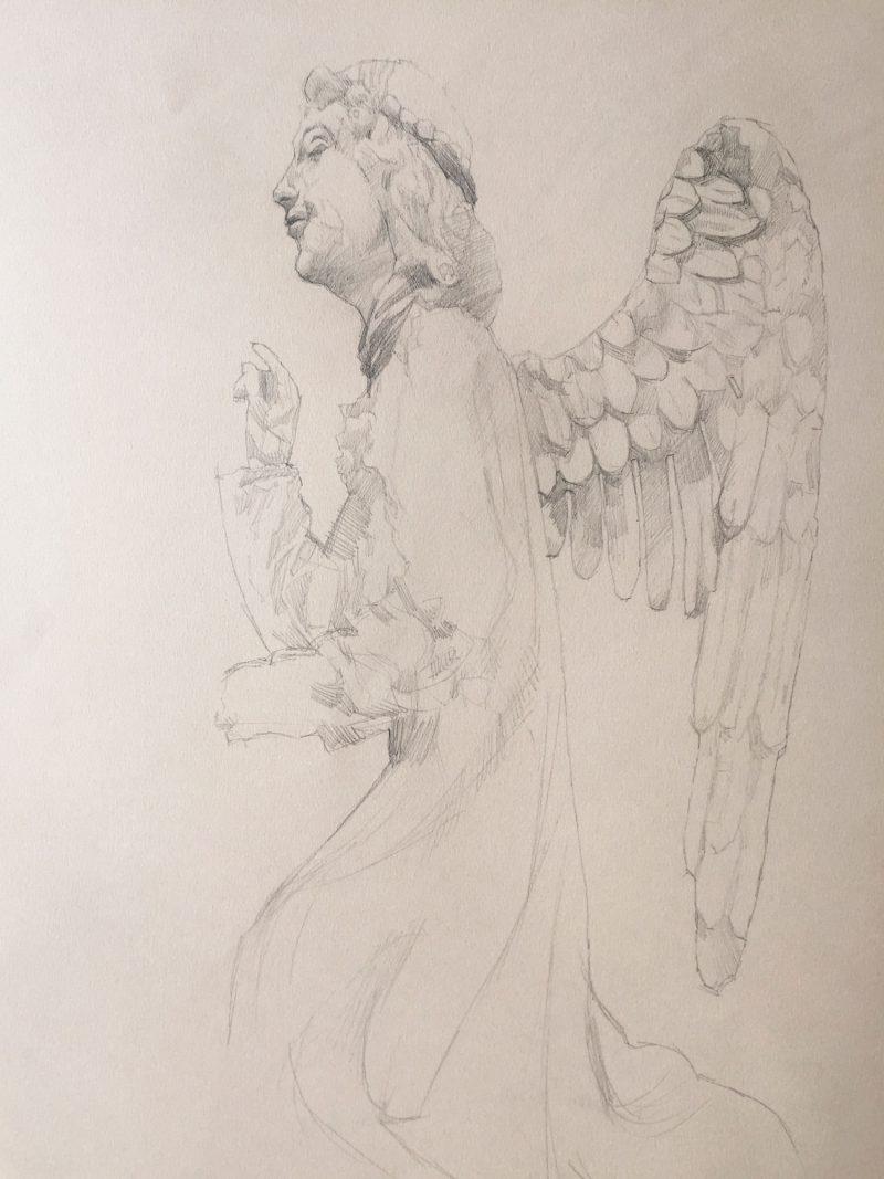 <p>15th Century Angel, pencil, 60 x 40cm</p>