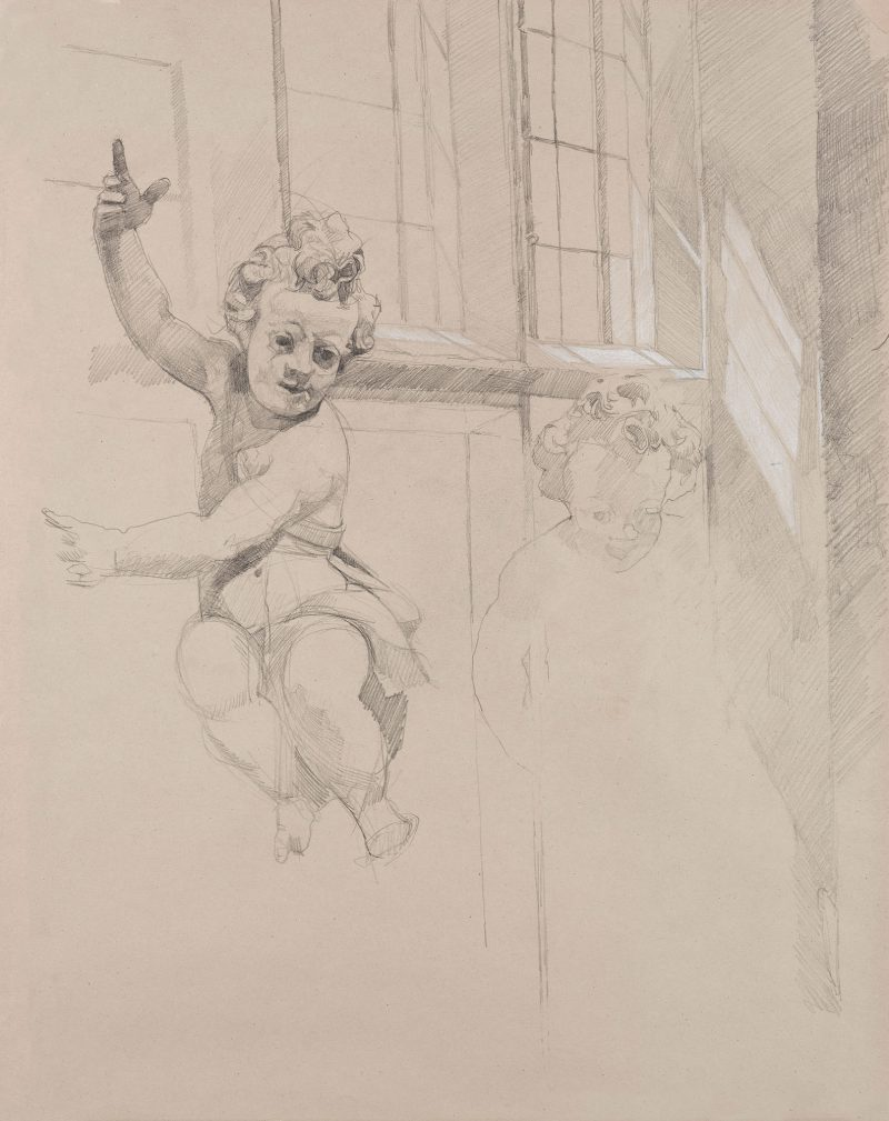 <p>Easter Sunday, pencil and chalk, 50 x 40cm</p>