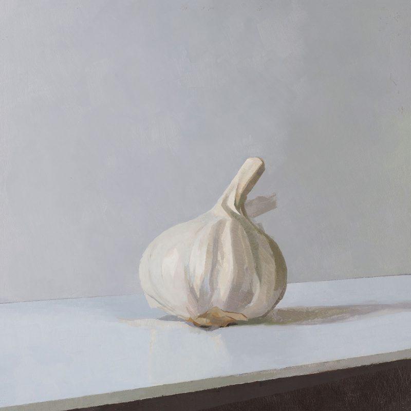 Garlic Triptych, Left Hand Panel, oil, 25 x 22