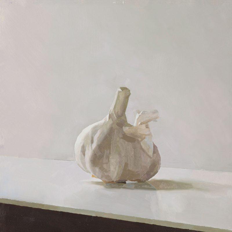 Garlic Triptych, Right Hand Panel, oil, 25 x 22cm