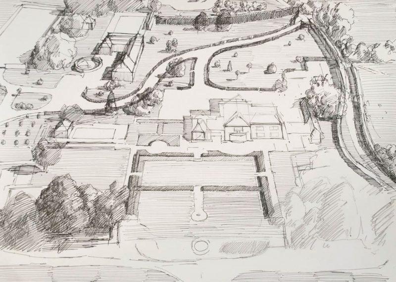 <p>Logmore Place, Sketch, ink, 20 x 30cm</p>