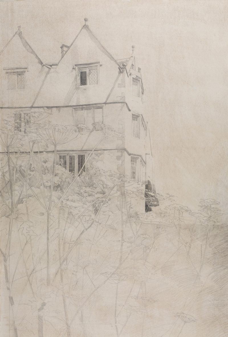 <p>Owlpen Manor, pencil, 100 x 60cm</p>