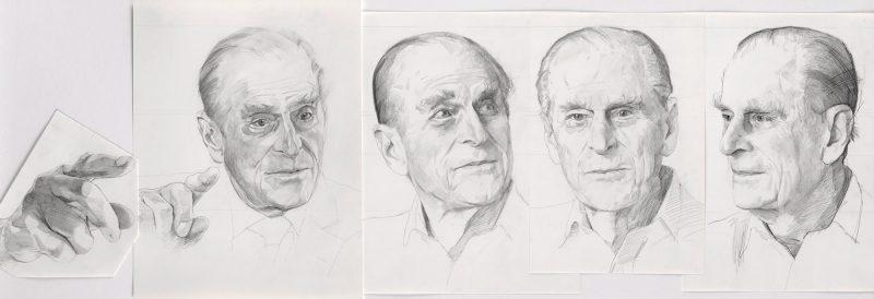 <p>Prince Philip Studies, pencil, 40 x 120cm</p>