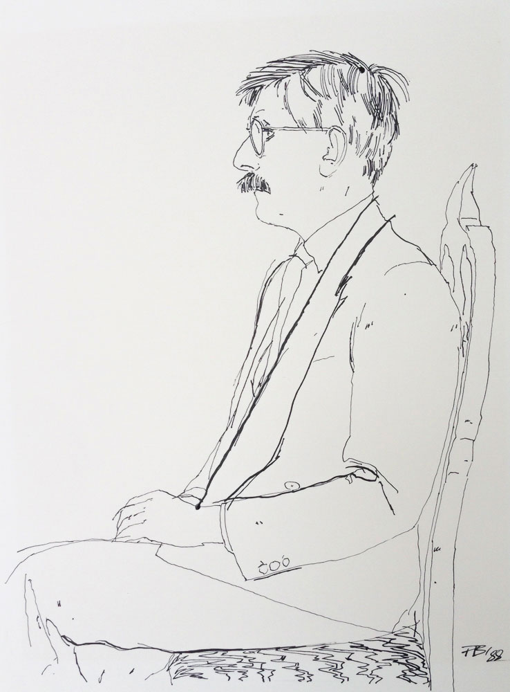<p>Roy Strong in Profile, ink, 30 x 25cm</p>
