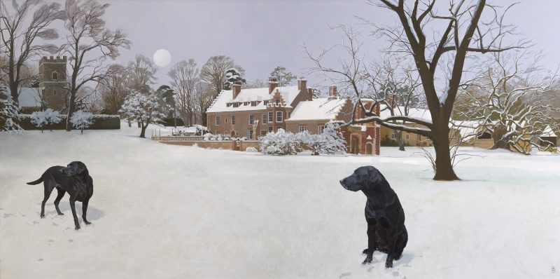Rycote in the Snow, oil, 122 x 244cm