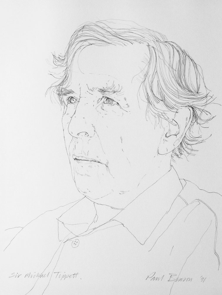 <p>Sir Michael Tippett OM, pencil, 25 x 18cm</p>