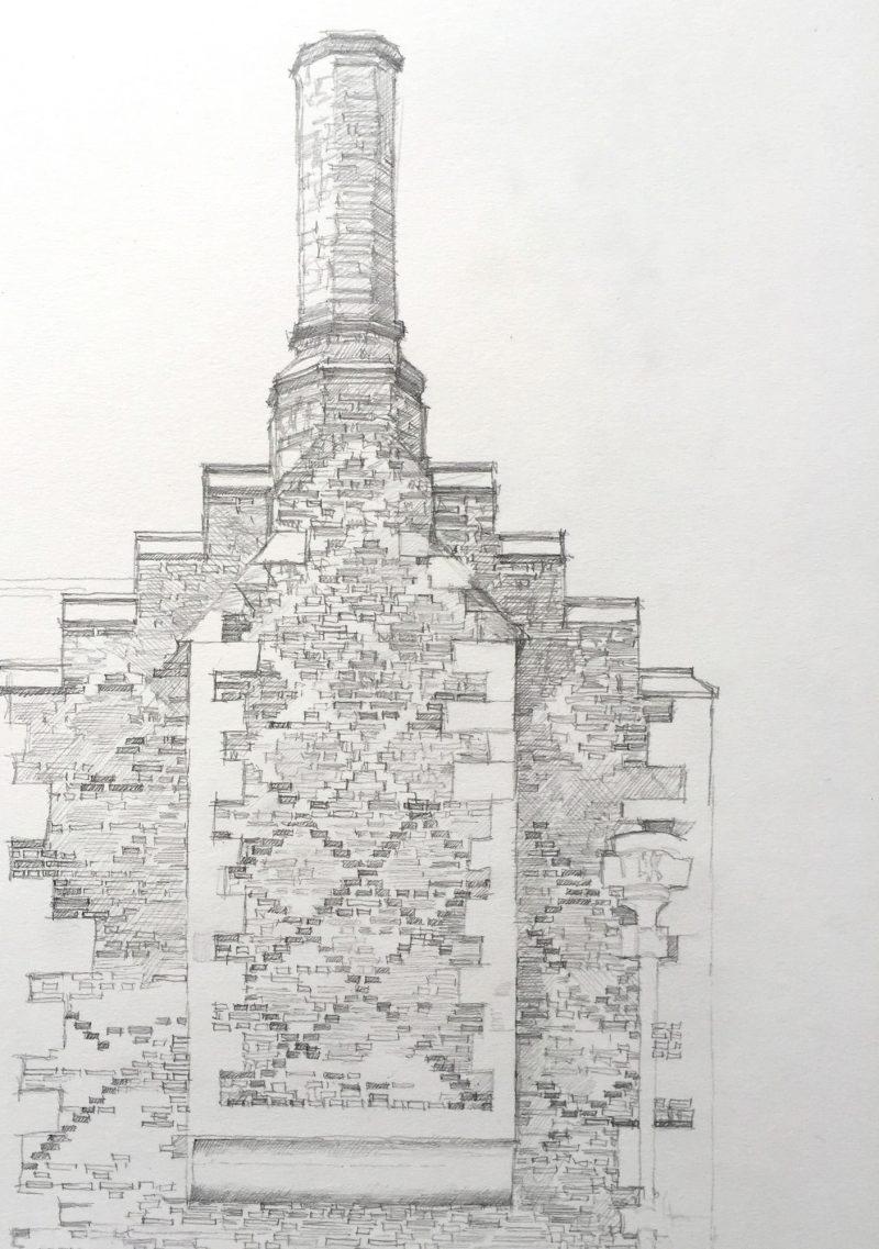 <p>Tudor Brickwork, Rycote Park, pencil, 40 x 30cm</p>